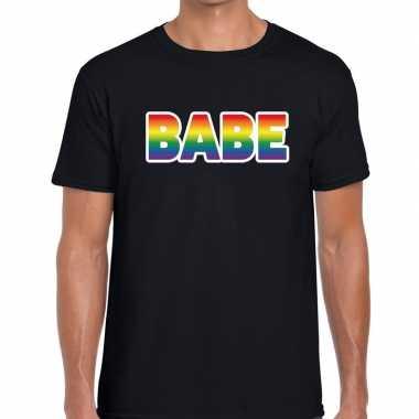 Baby babe regenboog gaypride shirt zwart heren speelgoed