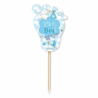 Baby blauwe geboorte cocktailprikkers stuks speelgoed