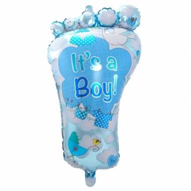 Baby blauwe geboorte folieballon voetje speelgoed