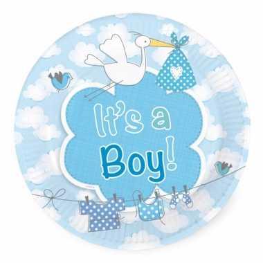 Baby blauwe geboorte gebaksbordjes stuks speelgoed