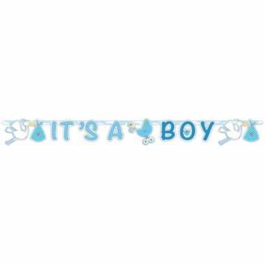 Baby blauwe geboorte letterslinger speelgoed