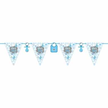 Baby blauwe geboorte vlaggenlijn meter speelgoed