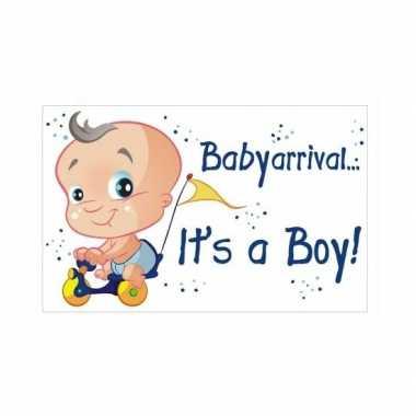 Baby decoratiebord geboorte jongen speelgoed