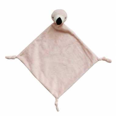 Baby dierenknuffel flamingo roze tuttel speelgoed