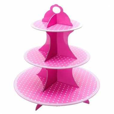 Baby etagere roze witte stippen speelgoed