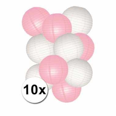 Baby feestpakket roze witte lampionnen speelgoed