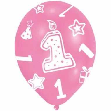 Baby feestversiering roze ballonnen jaar stuks speelgoed