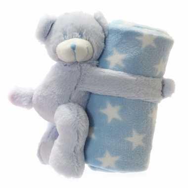 Baby Geboorte Cadeau Blauw Beer Dekentje Speelgoed