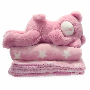 Baby geboorte cadeau roze deken beertje speelgoed