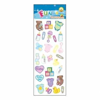 Baby  Geboorte thema stickervelletje speelgoed