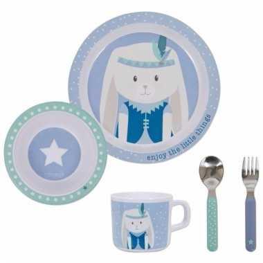Baby geboortecadeau kinder servies konijn blauw speelgoed