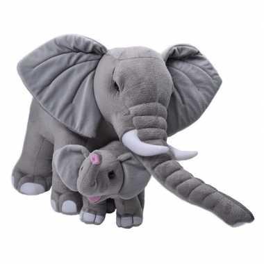 Baby grote pluche grijze olifant kalfje knuffel speelgoe speelgoed