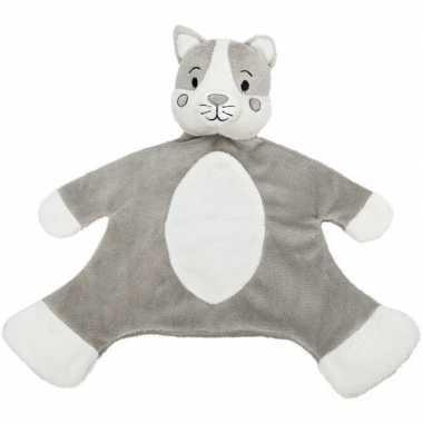 Baby huisdieren tutteldoekjes knuffels kat/poes grijs/wit speelgoed