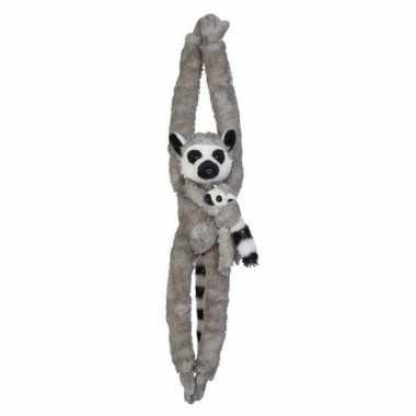 Baby jungledieren knuffels ringstaartmaki grijs speelgoed