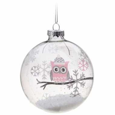 Baby kerstbal roze uiltje speelgoed