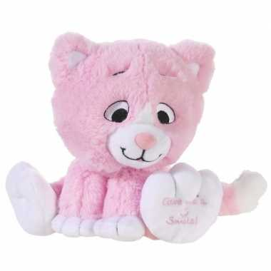 Baby lichtroze knuffel kat/poes give me a smile speelgoed