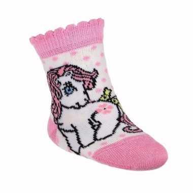 Baby meisje geboren kado my little pony sokjes wit speelgoed