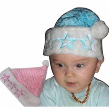Baby mutsjes kerst roze of blauw speelgoed