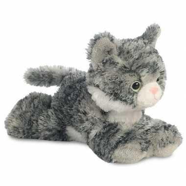 Baby poezen dieren knuffels grijs/witte kat speelgoed