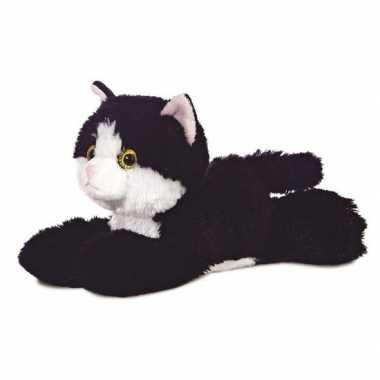 Baby poezen dieren knuffels zwart/witte kat speelgoed