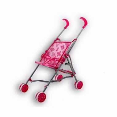 Baby poppen kinderwagen roze speelgoed