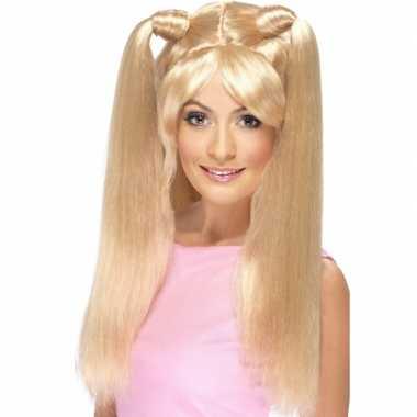 Baby Power lange blonde pruik speelgoed
