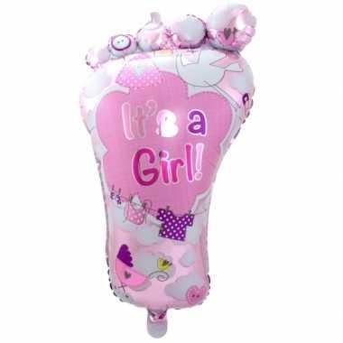 Baby roze geboorte folieballon voetje speelgoed