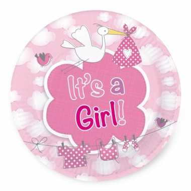 Baby roze geboorte gebaksbordjes stuks speelgoed