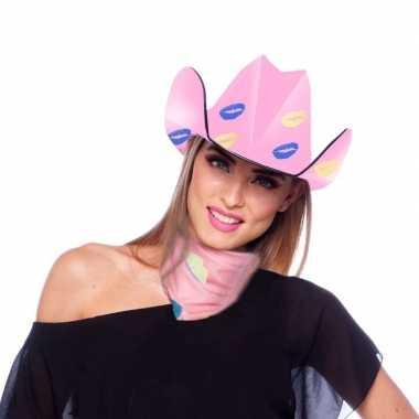 Baby roze kartonnen cowboyhoed lippen/kusjes dames speelgoed