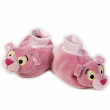 Baby  Roze slofjes pink panter hoofd speelgoed