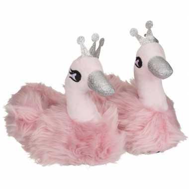 Baby roze zwaan dieren pantoffels/sloffen meisjes speelgoed