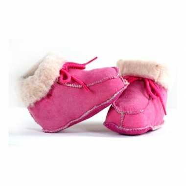 Baby sloffen roze lamsleer speelgoed