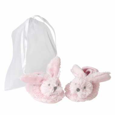 Baby slofjes roze konijntjes speelgoed
