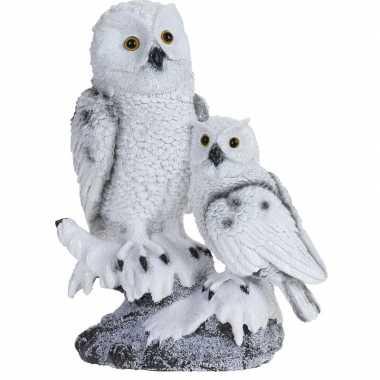 Baby sneeuwuil kindje boomstam beeldje decoratie type speelgoed 10138233