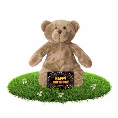 Baby verjaardag knuffel beer + gratis verjaardagskaart speelgoed