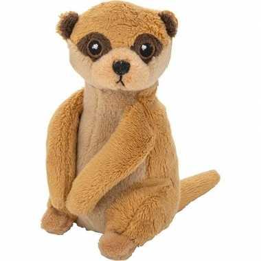 Baby wilde dieren knuffels stokstaartje bruin speelgoed