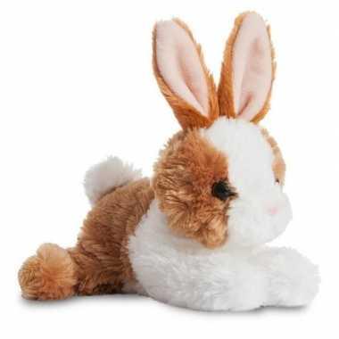 Baby wit/bruine bosdieren knuffels konijn speelgoed