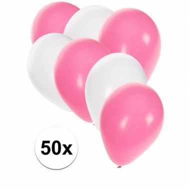 Baby x ballonnen wit lichtroze speelgoed