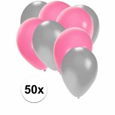 Baby x ballonnen zilver lichtroze speelgoed