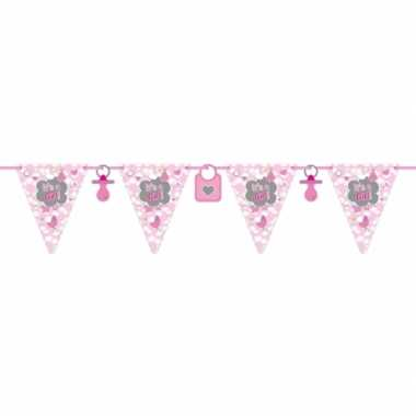 Baby x roze geboorte vlaggenlijn meter speelgoed