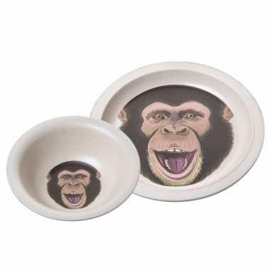 Babyontbijtset chimpansee aap speelgoed
