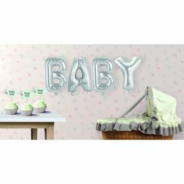 Babyshower opblaasletters baby zilver speelgoed