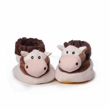 Babyslofjes pluche bruin paard speelgoed