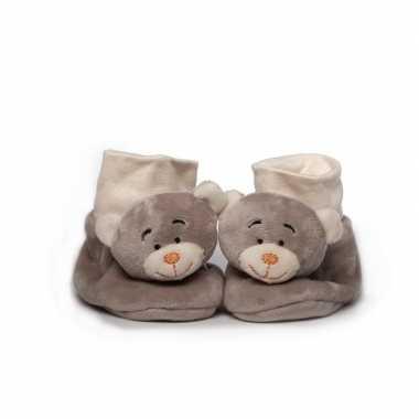 Babyslofjes pluche grijze beer speelgoed