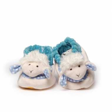 Babyslofjes wit/blauw schaap/lammetje speelgoed