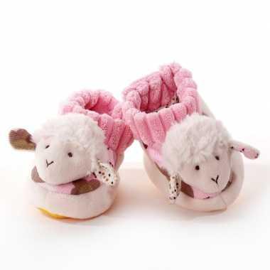 Babyslofjes wit roze schaap lammetje speelgoed