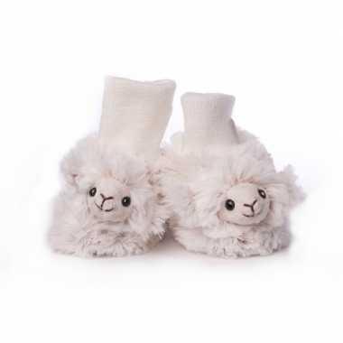 Babyslofjes wit schaap/lammetje speelgoed