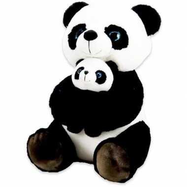 Bosdieren knuffels panda baby zwart wit speelgoed