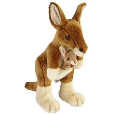 Buideldieren knuffels kangoeroe baby bruin speelgoed