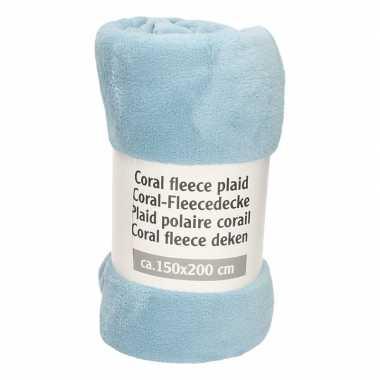 Donker babyblauwe fleece deken speelgoed